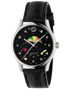 Gucci Unisex G-Timeless Moonphase Space Dial Black Leather Strap Watch YA1264045