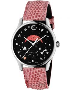 Gucci Unisex G-Timeless Moonphase Space Dial Pink Leather Strap Watch YA1264046