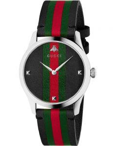 Gucci Mens G-Timeless Le Marche Des Merveilles Black Leather Strap Watch YA1264079