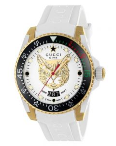 Gucci Mens Dive Gold Plated Cat Dial White Rubber Strap Watch YA136322