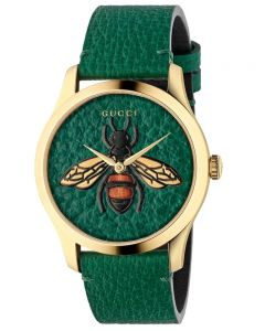 Gucci Ladies G-Timeless Gold Plated Textured Bee Motif Green Leather Strap Watch YA1264065A