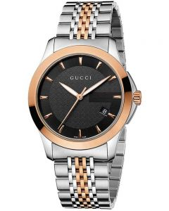 Gucci Mens G-Timeless Two Colour Black Dial Bracelet Watch YA126410