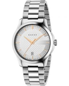 Gucci Unisex G-Timeless Stainless Steel Silver Dial Bracelet Watch YA126442