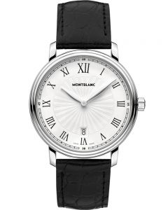 Montblanc Mens Tradition White Dial Date Leather Strap Watch 112633