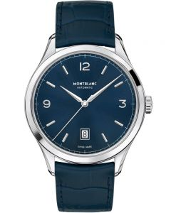 Montblanc Mens Heritage Chronometrie Automatic Blue Leather Strap Watch 116481