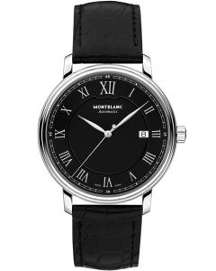 Montblanc Mens Tradition Automatic Date Black Leather Strap Watch 116482