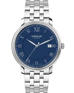 Montblanc Mens Tradition Automatic Blue Bracelet Watch 117830