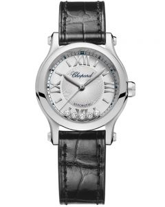 Chopard Ladies Happy Sport Black Diamond Leather Strap Watch 278573-3001