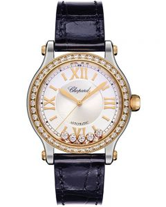 Chopard Happy Sport Stainless Steel and 18ct Rose Gold Diamond Leather Strap Watch 278608-6003