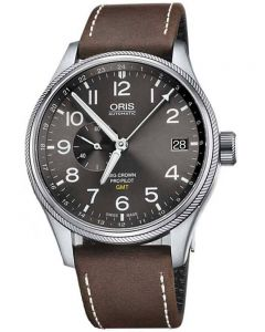 Oris Mens Big Crown ProPilot GMT Brown Leather Strap Watch 748 7710 4063-07LS