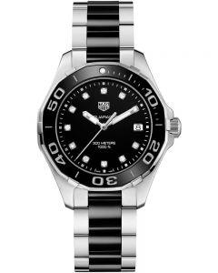 TAG Heuer Ladies Aquaracer Quartz Black Diamond-Set Bracelet Watch WAY131C.BA0913