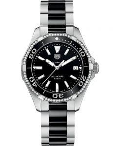 TAG Heuer Ladies Aquaracer Quartz Black Diamond-Set Bracelet Watch WAY131G.BA0913