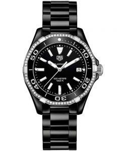 TAG Heuer Ladies Aquaracer Quartz Black Ceramic Diamond Set Bracelet Watch WAY1395.BH0716