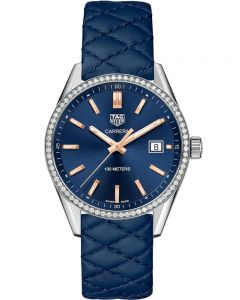 TAG Heuer Ladies Carrera Quartz Diamond Blue Leather Strap Watch WAR1114.FC6391
