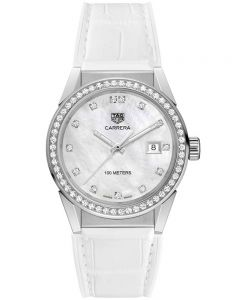 TAG Heuer Ladies Carrera Quartz Diamond White Leather Strap Watch WBG1315.FC6412