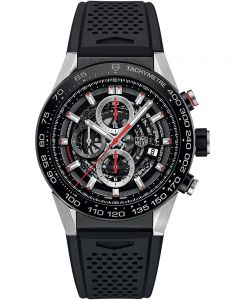 TAG Heuer Mens Carrera Calibre Heuer01 Black Skeleton Rubber Strap Watch CAR2A1Z.FT6044