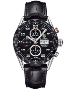 TAG Heuer Mens Carrera Calibre 16 Black Chronograph Leather Strap Watch CV2A1R.FC6235