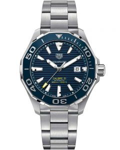 TAG Heuer Mens Aquaracer Calibre 5 Ceramic Blue Dial Bracelet Watch WAY201B.BA0927