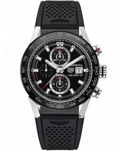 TAG Heuer Mens Carrera Calibre Heuer01 Black Dial Rubber Strap Watch CAR201Z.FT6046