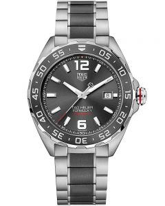 TAG Heuer Mens Formula 1 Calibre 6 Two Tone Ceramic Black Dial Bracelet Watch WAZ2011.BA0843