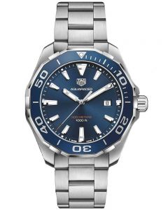 TAG Heuer Mens Aquaracer Quartz Blue Bracelet Watch WAY101C.BA0746