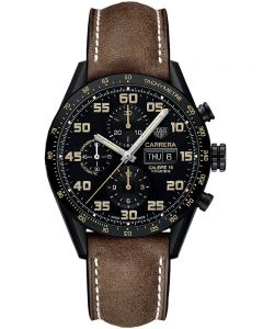 TAG Heuer Mens Carrera Calibre 16 Chronograph Brown Leather Strap Watch CV2A84.FC6394