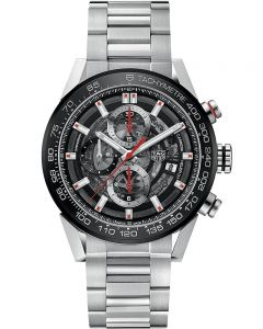 TAG Heuer Mens Carrera Calibre Heuer01 Black Skeleton Bracelet Watch CAR201V.BA0714
