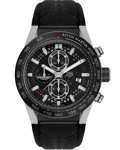 TAG Heuer Mens Carrera Heuer01 Aston Martin Special Edition Black Rubber Watch CAR2A1AB.FT6163