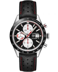 TAG Heuer Mens Carrera Calibre 16 Black Chronograph Black Leather Strap Watch CV201AP.FC6429