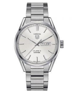 TAG Heuer Mens Carrera Calibre 5 Day Date Silver Bracelet Watch WAR201B.BA0723
