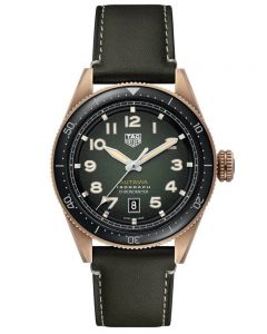 TAG Heuer Mens Autavia Automatic Chronometer Bronze Smoked Khaki Dial Leather Strap Watch WBE5190.FC8268