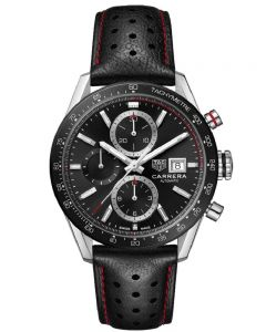 TAG Heuer Mens Carrera Calibre 16 Automatic Chronograph Black Strap Watch CBM2110.FC6454
