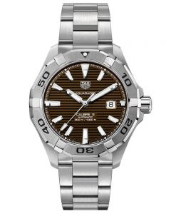 TAG Heuer Mens Aquaracer Calibre 5 Brown Sunray Dial Stainless Steel Bracelet Watch WAY2018.BA0927