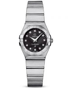 OMEGA Ladies Constellation Quartz Diamond Black Supernova Bracelet Watch 123.10.24.60.51.001