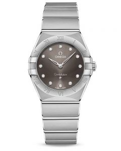OMEGA Ladies Constellation Manhattan Diamond Set Black Dial Bracelet Watch 131.10.28.60.56.001