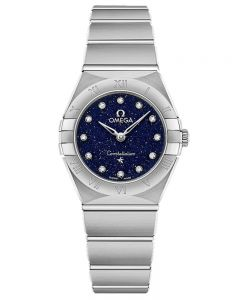 OMEGA Ladies Constellation Manhattan Blue Diamond Dial Bracelet Watch 131.10.25.60.53.001