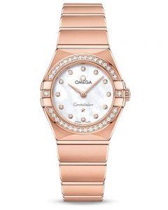 OMEGA Ladies Constellation Manhattan 18ct Rose Gold Diamond Set Mother Of Pearl Dial Bracelet Watch 131.55.25.60.55.001