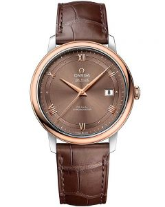 Omega Mens De Ville Prestige Brown Dial Leather Strap Watch 424.23.40.20.13.001