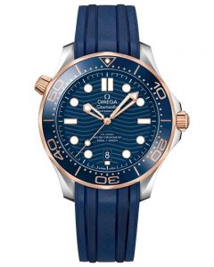 OMEGA Mens Seamaster Diver 300M Rose Gold and Steel Blue Rubber Strap Watch 210.22.42.20.03.002