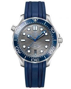 OMEGA Mens Seamaster Diver 300M Grey Dial Rubber Strap Watch 210.32.42.20.06.001