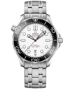 OMEGA Mens Seamaster Co-Axial Master Chronometer White Dial Bracelet Watch 210.30.42.20.04.001