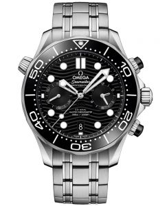 OMEGA Mens Seamaster Co-Axial Master Chronometer Chronograph Black Dial Bracelet Watch 210.30.44.51.01.001
