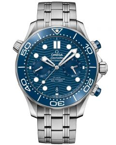 OMEGA Mens Seamaster Co-Axial Master Chronometer Chronograph Blue Dial Bracelet Watch 210.30.44.51.03.001