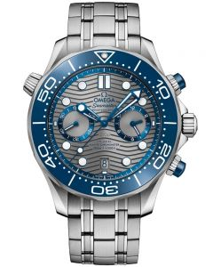 OMEGA Mens Seamaster Co-Axial Master Chronometer Chronograph Grey & Blue Dial Bracelet Watch 210.30.44.51.06.001