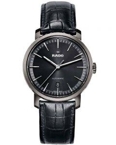 Rado Mens DiaMaster Automatic Black Leather Strap Watch R14074175 XL