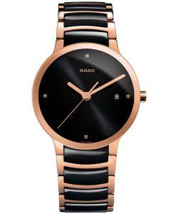 Rado Mens Centrix Diamonds Quartz Black and Rose Ceramic Bracelet Watch R30554712 L
