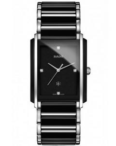 Rado Mens Integral Diamonds Quartz Date Black and Silver Ceramic Bracelet Watch R20206712 L
