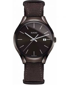 Rado Mens True Quartz Brown Fabric Strap Watch R27234306 L