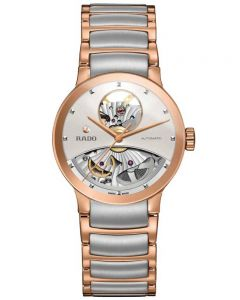 Rado Ladies Centrix Automatic Open Heart Grey and Rose Ceramic Bracelet Watch R30248012 M