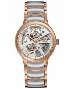 Rado Mens Centrix Automatic Open Heart Grey and Rose Ceramic Bracelet Watch R30181103